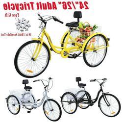 """Ridgeyard 24/26"""" Adult 3-Wheel 7-Speed Tricycle Trike Bicycl"""