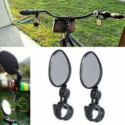 2-Pack Mini Rotaty Handlebar Glass Rear view Mirror for Road