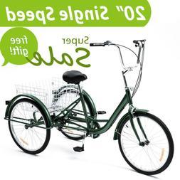 20 Inch Trike 1 Speed Adult Tricycle 3-Wheel Bike w/Basket f