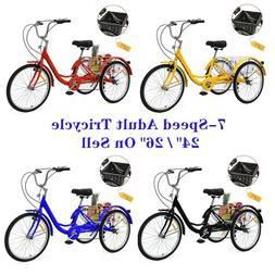 """24""""/ 26"""" Adult 7-Speed Tricycle 3 Wheels Trike Bicycle W/ Sh"""
