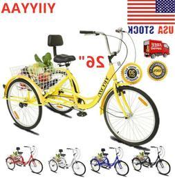 "26""Adult 3-Wheel Tricycle Trike Cruise Bike Bicycle W/Basket"