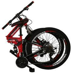 """26"""" Full Suspension Mountain Bike 21 Speed Folding Bicycle"""
