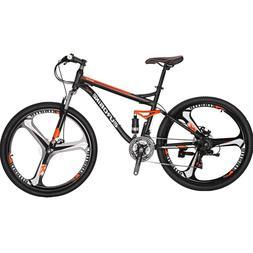 """27.5"""" Full Suspension Mountain Bike Shimano 21 Speed Mens Bi"""