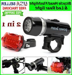 Bike Bicycle Light 5 LED Rear Safety + Front Head FLASHLIGHT