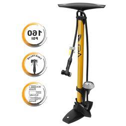 BV Bike Floor Pump Steel w/ Gauge Presta & Schrader Compatib