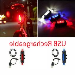 Bike Tail Light Bicycle Rechargeable USB 5 LED Safety Rear L