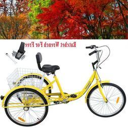 """3-Wheel Adult 24"""" Tricycle 7-Speed Bike Bicycle Trike Cruise"""