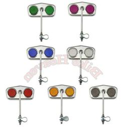 Chrome Diamond Rear View Bicycle Mirrors Reflectors Lowrider