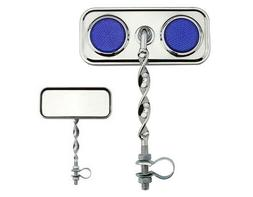 Chrome Flate Twisted Mirrors with Blue Reflectors Set of 2 L