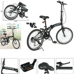 Folding Bike 20 Foldable Bicycle Lightweight 7 Speed Adult B