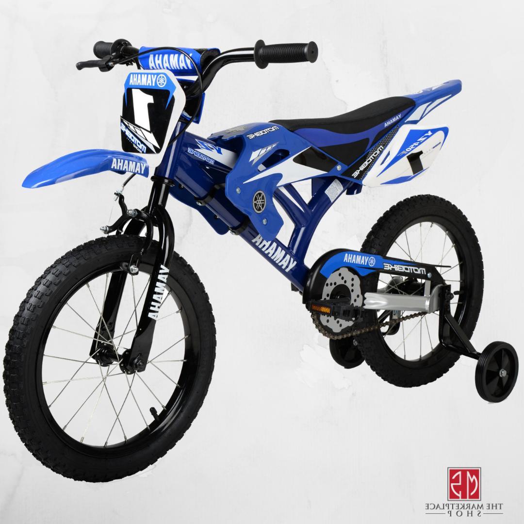 "16"" BMX Moto Boys Bike Blue Steel Frame Kids Bicycle Motocro"