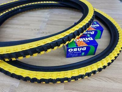 """26x1.95 & Yellow Bicycle Knobby Tubes Mountain 26"""" NEW"""