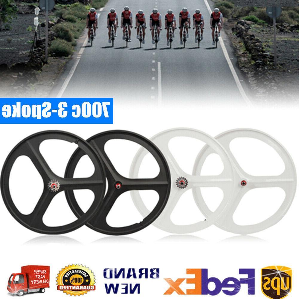 700c fixed gear 3 spoke mag wheels