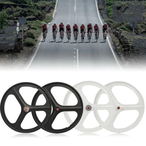 700c Fixed 3-Spoke Mag Wheels of Fixie Bike