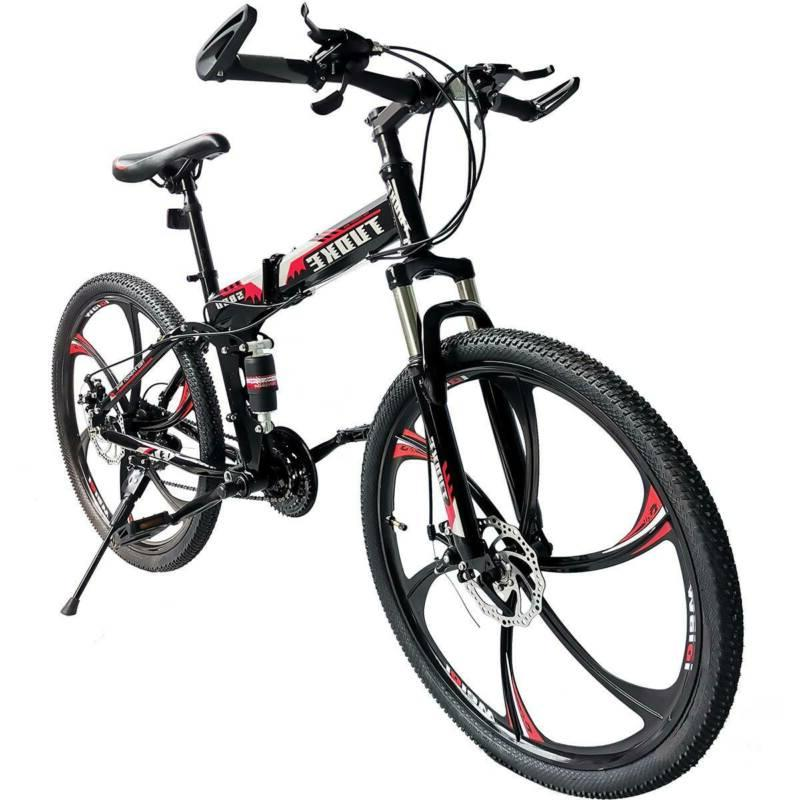 Folding Mountain Bike Full Suspension Bicycle Speed MTB Mens