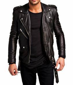 Men Leather Jacket Motorcycle Black Slim fit Biker Genuine l