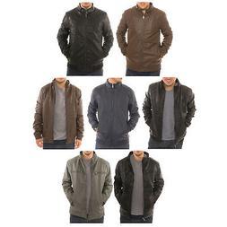 Alta Men's Motorcycle Bomber Fleece Lined Faux Leather Jacke