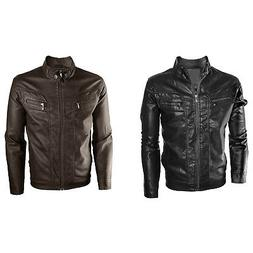 Alta Men's Motorcycle Faux Leather Jacket Quilted Lining Zip