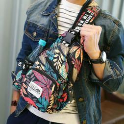 Men's Nylon Chest Sling Pack Shoulder Bag Biker Cross-Body S