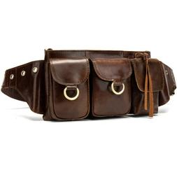 Retro Mens Genuine Leather Waist Pack Personality Motorcycle